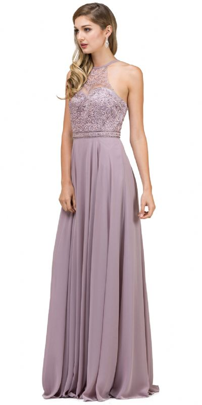 Embroidered Bodice High Neck Long Chiffon Prom Formal Dress