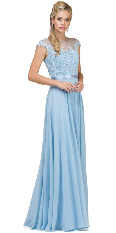 Embroidered Mesh Bodice Long Chiffon Prom Formal Dress