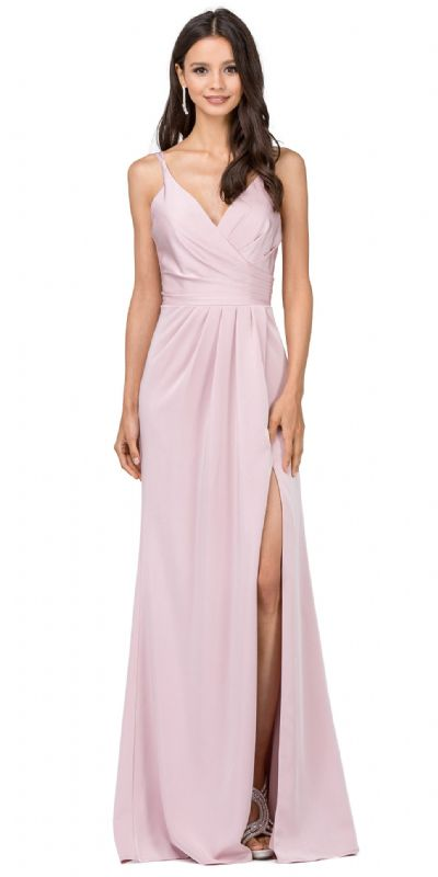 Deep V-Neck Pleated Bust Long Satin Formal Evening Dress