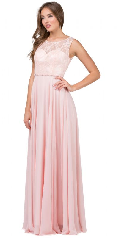 Lace Bodice Beaded Waist Long Chiffon Bridesmaid Dress