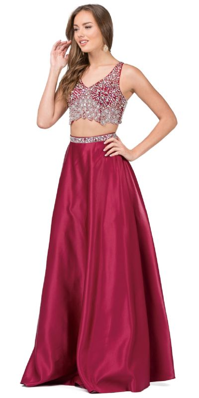 V-neck Bejeweled Top Long Satin Skirt Two Piece Prom Dress