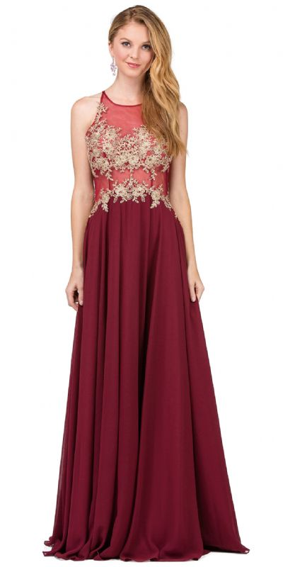 Lace Accent Sheer Mesh Bodice Long Prom Dress.
