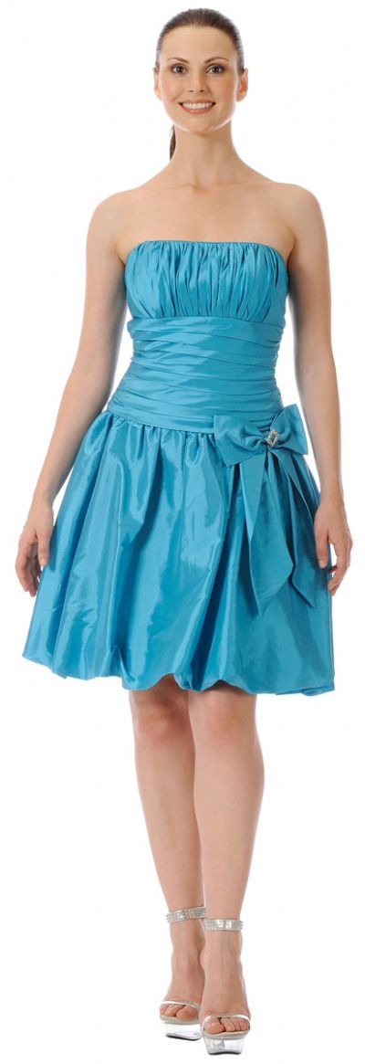 Short Shirred Ribbon Party Dress