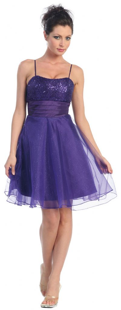 Sequin Bodice Crystal Mesh Skirt Short Party Dress