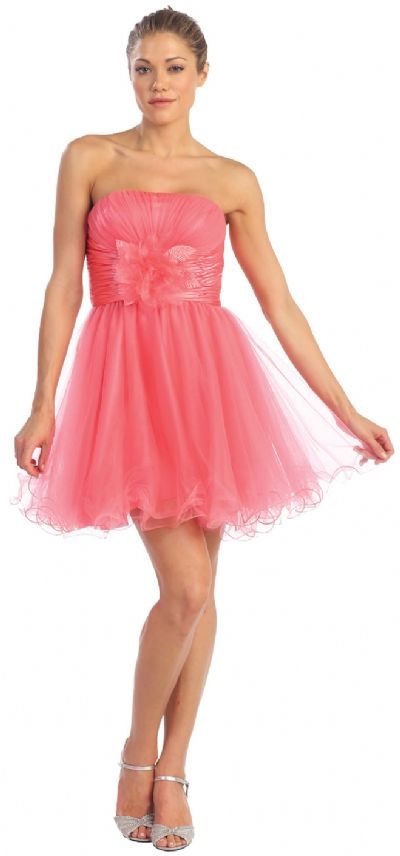 English Net Short Prom Dress With Flowered Waistline