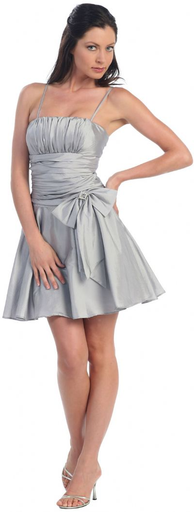 Shirred Bodice Short Party Dress with Bow Applique