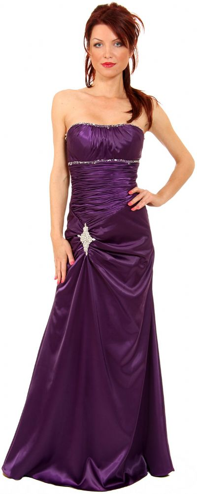 Ruched Bejeweled Fitted Formal Evening Dress