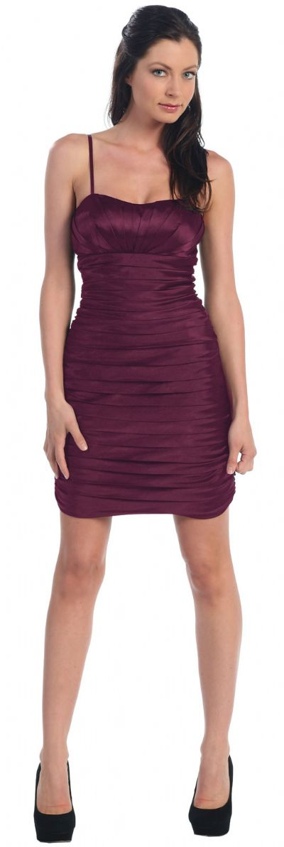 Spaghetti Straps Pleated Short Party Dress