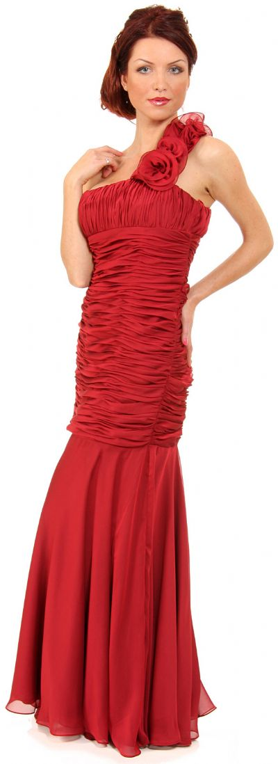 Shirred Single Shoulder Formal Evening Dress