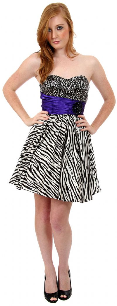 Strapless Sequined Zebra Print Short Cocktail Dress