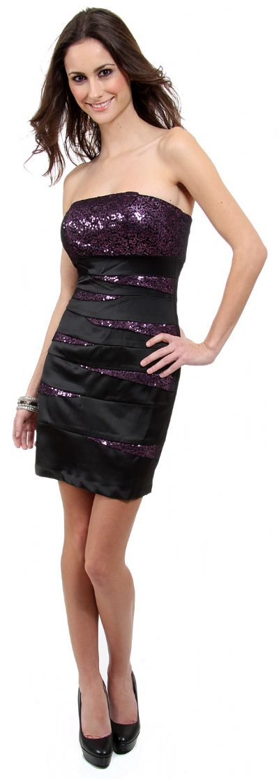 Strapless Bandage Style Sequin Short Party Dress