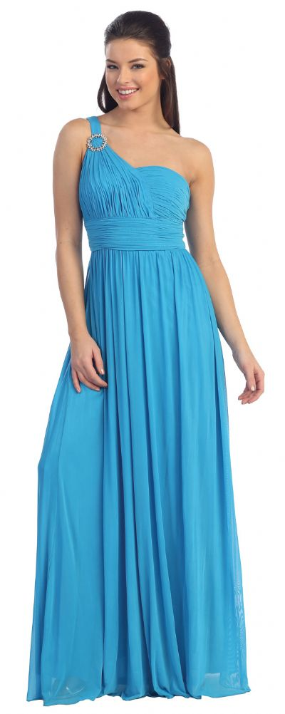 One Shoulder Long Formal Dress with Pleated Bodice