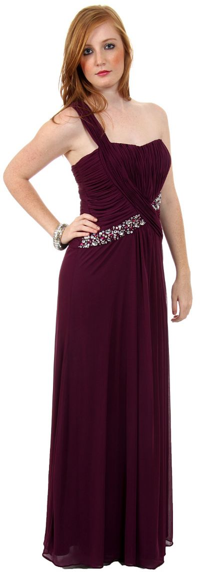 Grecian Single Shoulder Formal Prom Dress