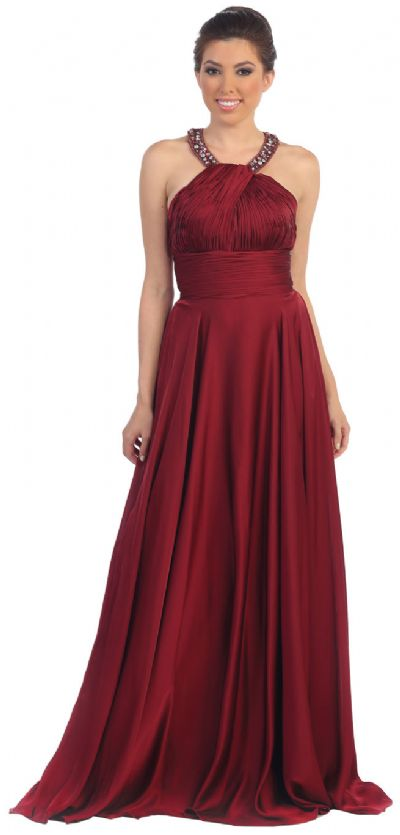 Scoop Neck Floor Length Formal Prom Dress with Racer Back