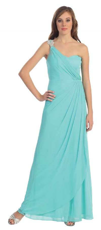 One Shoulder Draped Prom Cocktail Dress with Bejeweled Strap
