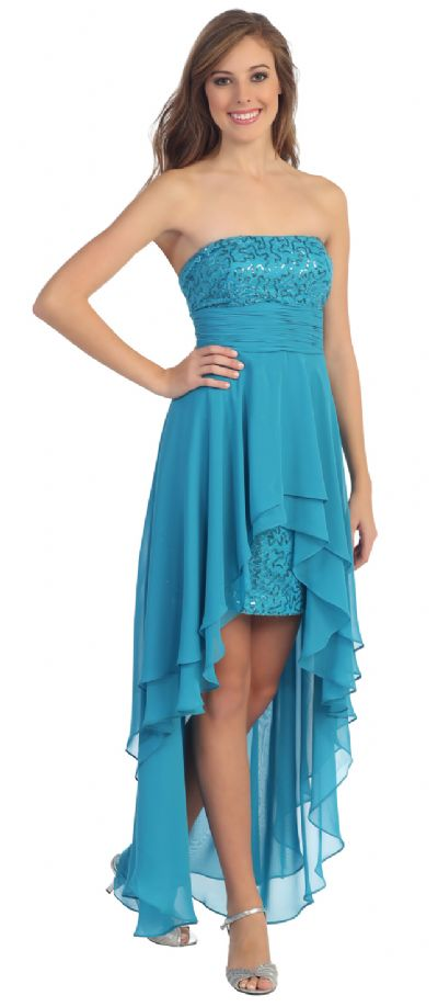 Elegant High-Low Prom Dress with Asymmetrical Hem