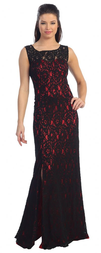 Sleeveless Lace Long Formal Dress with Front Slit