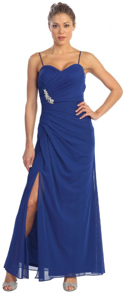 Spaghetti Straps Gathered Long Formal Homecoming Dress