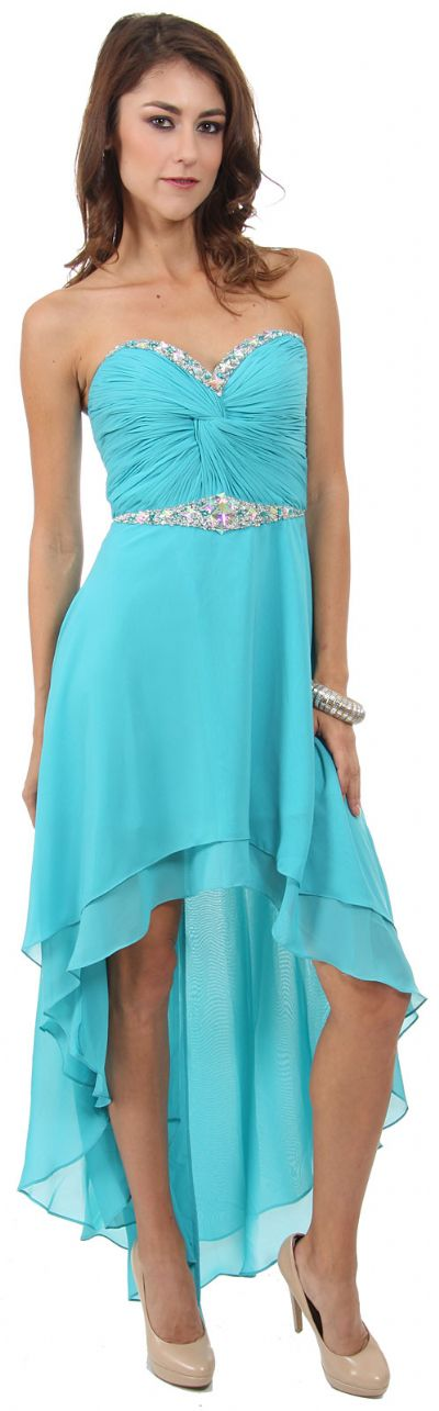 Strapless High Low Formal Prom Dress with Twist at Bust
