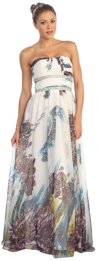 Strapless Printed Long Formal Prom Dress with Beaded Waist