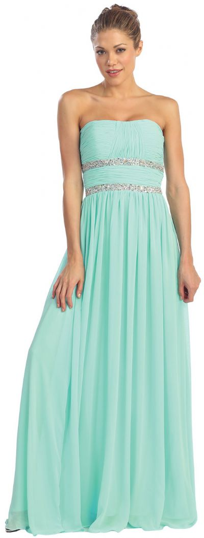 Strapless Empire Cut Ruched Long Formal Prom Dress