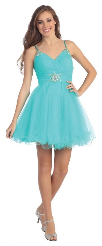 Spaghetti Straps Layered Short Party Prom Dress in Mesh