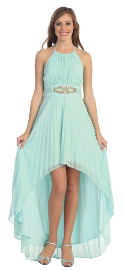 Halter Neck High Low Cocktail Prom Dress with Brooch
