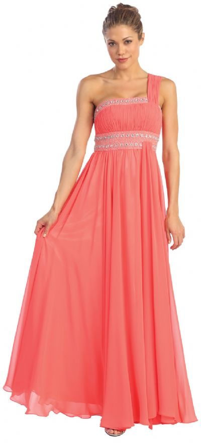 One Shoulder Ruched Long Formal Dress with Bejeweled Bust