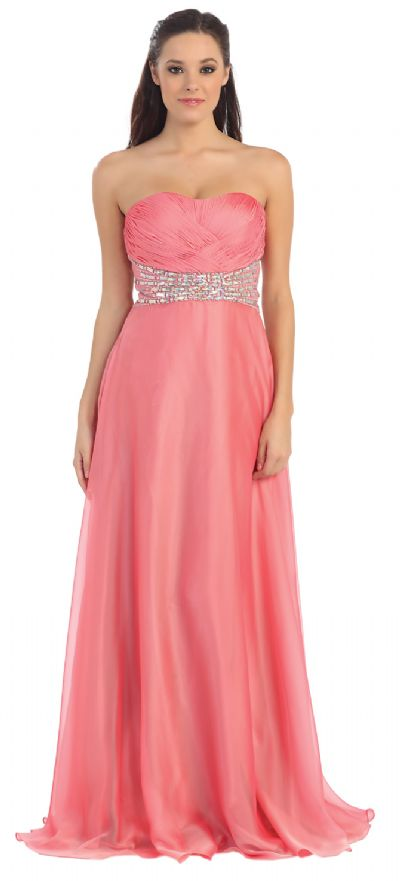 Strapless Weave Design Long Formal Evening Prom Dress