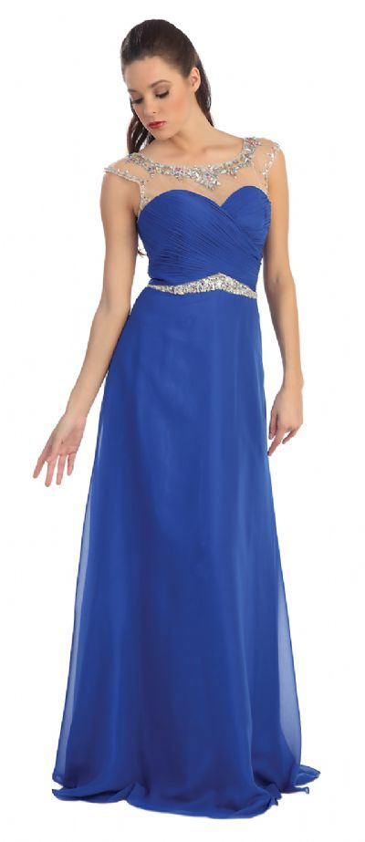 Sheer Neck Long Formal Evening Prom Dress with Rhinestones