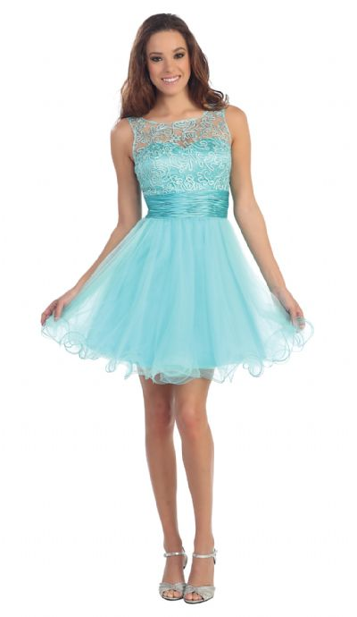 Patterned Sheer Neckline Tulle Short Party Prom Dress