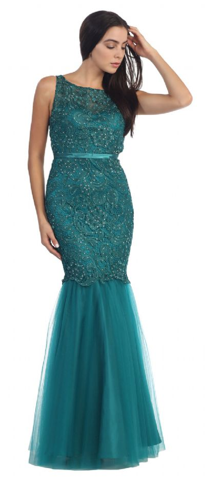 Lace Bodice Mermaid Mesh Skirt Long Formal Prom Dress