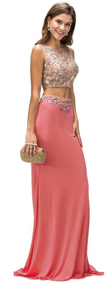 Bejeweled Top Long Jersey Skirt Two Piece Prom Dress