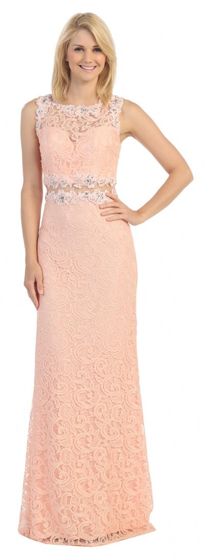 Sheer Lace Bejeweled Long Formal Evening Prom Dress