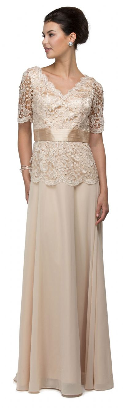 V-Neck Half Sleeves Lace Bodice Long Formal MOB Dress