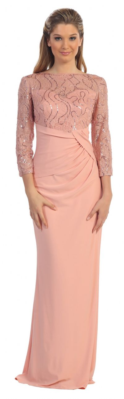 Bateau Neck Sequins Bodice Long Formal MOB Dress