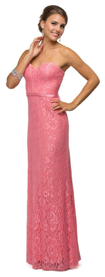 Strapless Sweetheart Neck Long Lace Formal Bridesmaid Dress