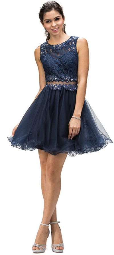 Embroidered Lace Top Baby Doll Short Homecoming Party Dress