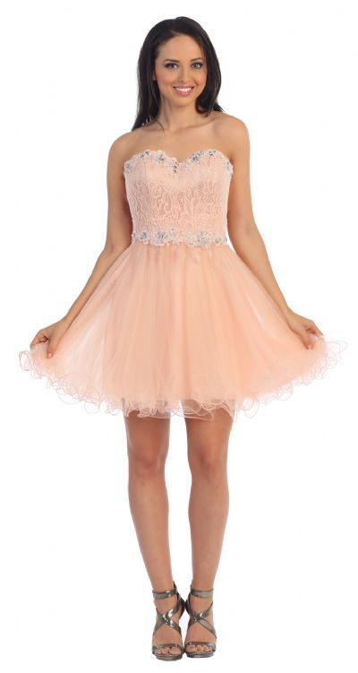 Strapless Lace Bust Short Babydoll Homecoming Party Dress