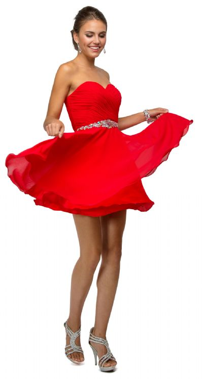 Strapless Ruched Bust Short Homecoming Bridesmaid Dress