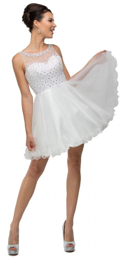 Bejeweled Bust Short Babydoll Homecoming Party Dress