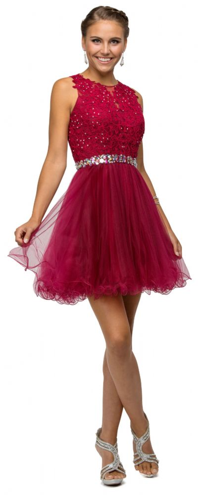 Lace Top Tulle Skirt Short Homecoming Party Dress
