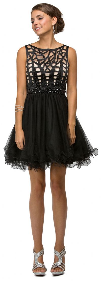 Web Pattern Bodice Beaded Short Tulle Homecoming Party Dress