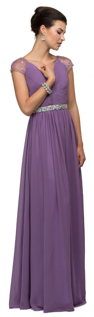 V-Neck Pleated Jewels Waist Long Formal Bridesmaid Dress