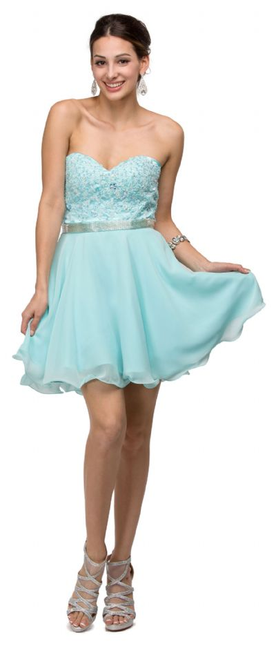 Strapless Lace Bust Short Homecoming Party Dress