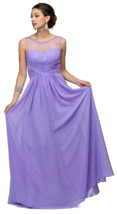 Mesh Neck Ruched Bust Long formal Bridesmaid Dress