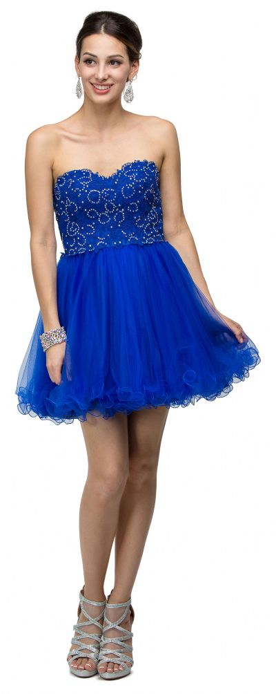 Strapless Beaded Lace Mesh Short Homecoming Party Dress