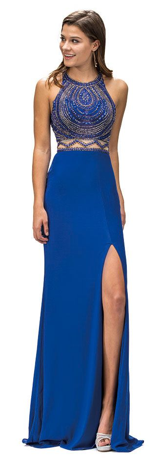 Sleeveless Beaded Top High Neck Long Formal Prom Dress