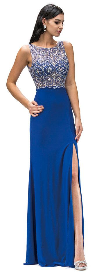 Boat Neck Jewel Mesh Top Long Formal Prom Dress