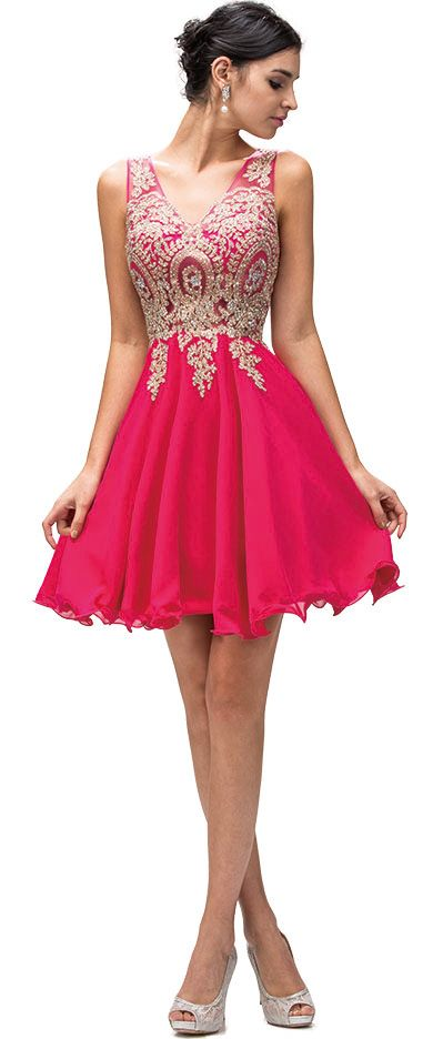 Sleeveless Embroidered Bodice Short Homecoming Party Dress